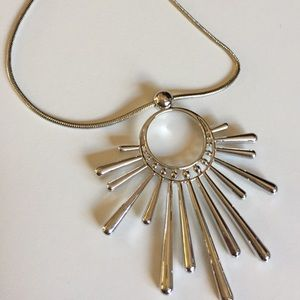 I.N.C. Silver Tone Sunburst Pendant Necklace
